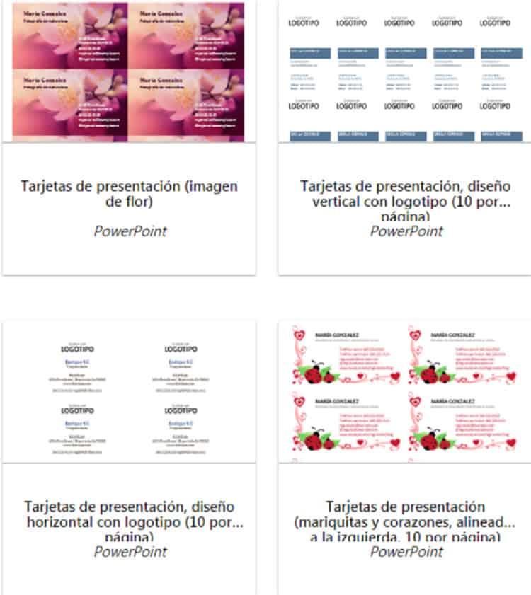 tarjetas de presentación diferentes